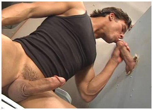 macho guy sucking a long dick thru gloryhole